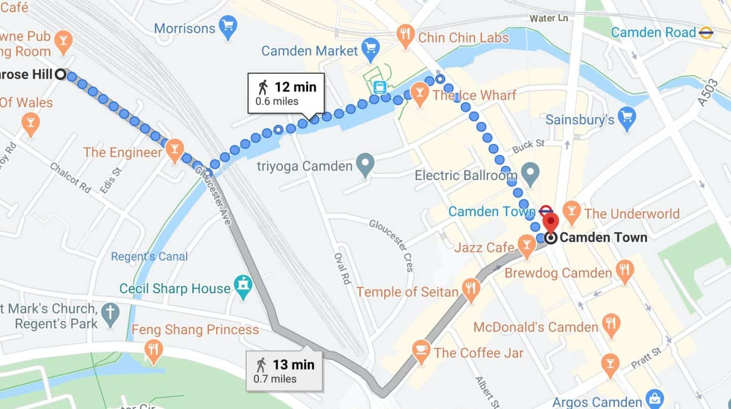 Map from Camden to Primrose Hill