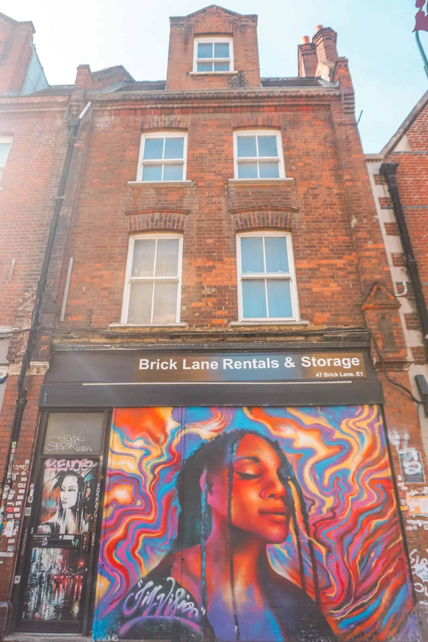 Black Woman Mural on Brick Lane, Shoreditch