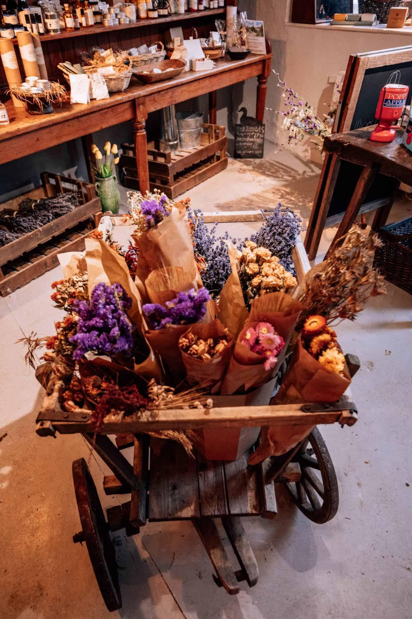 Flowers in Village shop in Lacock, Wilshire