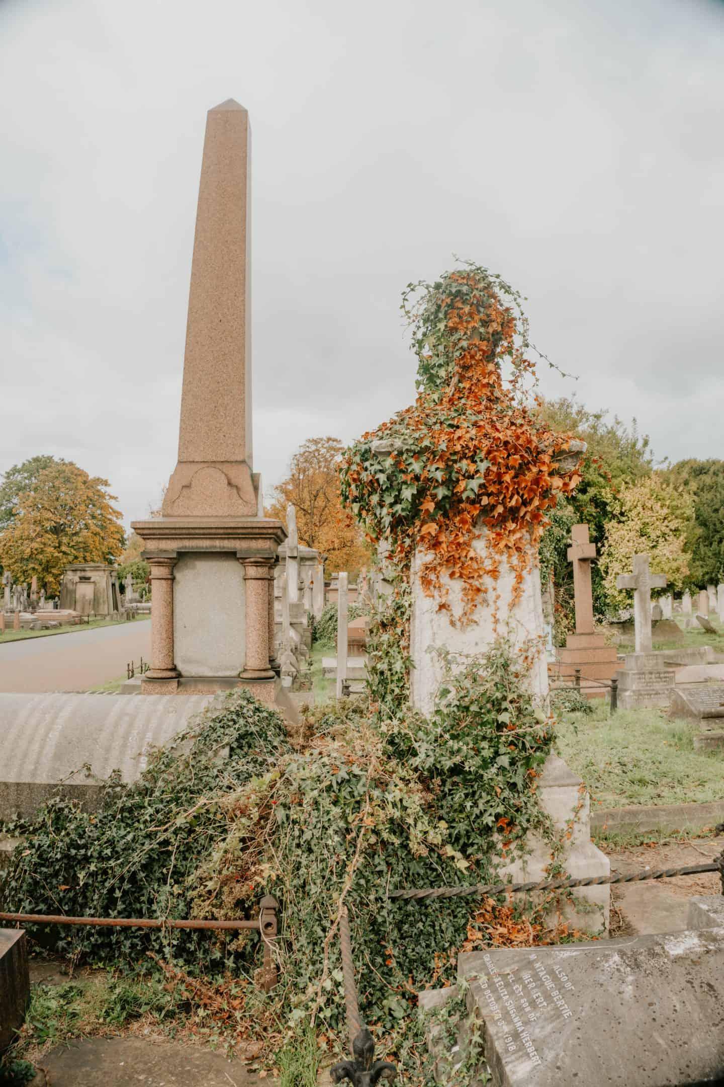 Leaves Brompton Cemetery London