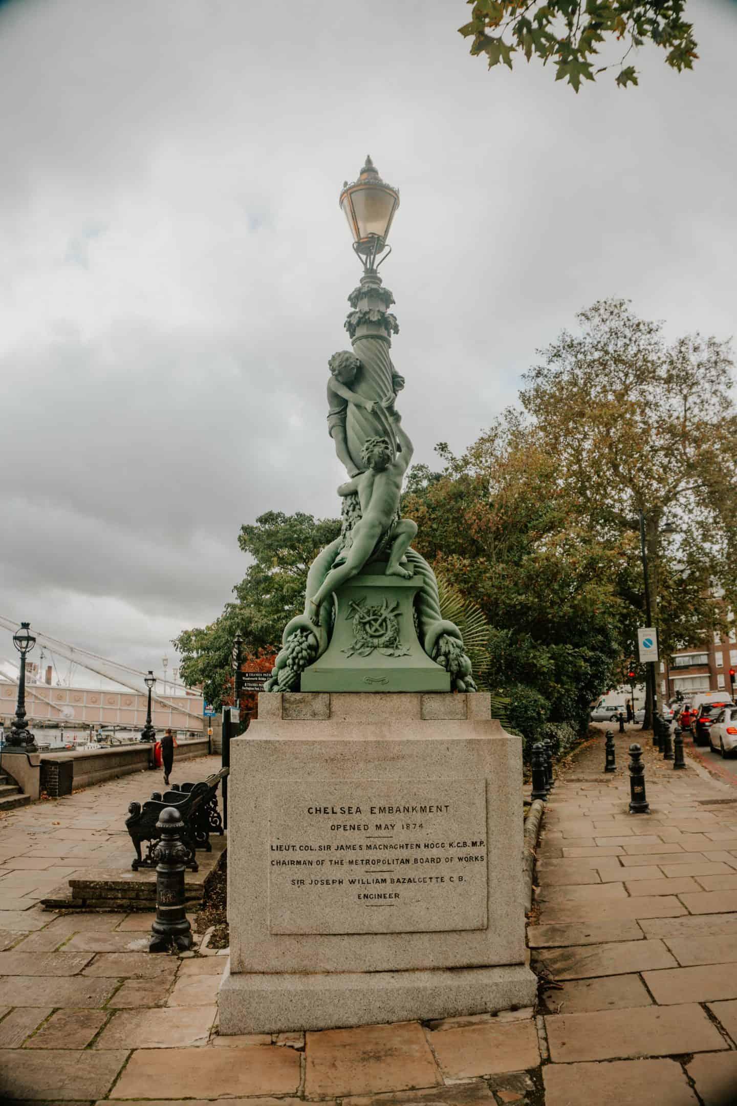 Statue in London near Chelsea Embankment